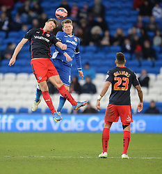 Reading's Pavel Pogrebnyak battles for the ball with Cardiff City's Aron Gunnarsson - Photo mandatory by-line: Alex James/JMP - Mobile: 07966 386802 - 24/01/2015 - SPORT - Football - Cardiff - Cardiff City Stadium - Cardiff City v Reading - FA Cup Fourth Round