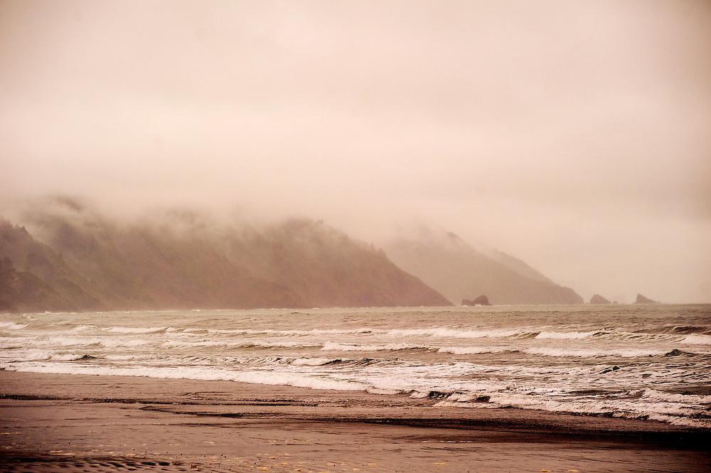 California, Crescent City, South Beach in fog and rain