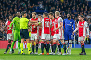 RED CARD Ajax defender Daley Blind (17) protests after being given a red card by referee Erik Ten Hag during the Champions League match between Chelsea and Ajax at Stamford Bridge, London, England on 5 November 2019.