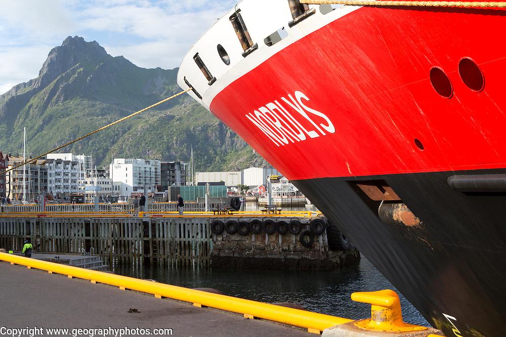 Nordlys Hurtigruten ferry ship at Svolvaer, Lofoten Islands, Nordland, Norway