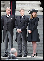 Sir Mark Thatcher and his children Michael and Amanda watch Baroness Thatcher's  coffin leaving  St.Paul's Cathedral in London , Wednesday 17th  April 2013 Photo by: Stephen Lock / i-Images<br /> <br /> File photo - One year ago: Baroness Thatcher died.<br /> On Tue, Apr 8 2014 it will be one year since the Longest-serving UK Prime Minister of the 20th century, the first and only woman to serve in the role to date, died on April 8, 2013  after suffering a stroke.