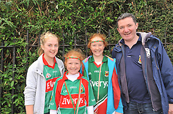 Mayo fans Sinead Forkan with Ellen, Rachel and Jack Kelleharfrom Charlestown on their way to Croke Park.<br />Pic Conor McKeown