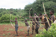Africa, Tanzania, Lake Eyasi, Hadza men preparing the arrows before a hunting expedition Small tribe of hunter gatherers AKA Hadzabe Tribe April 2006