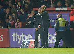 Liverpool Manager Brendan Rodgers talks to the 4th official during the game. - Mandatory byline: Alex James/JMP - 08/01/2016 - FOOTBALL - St James Park - Exeter, England - Exeter City v Liverpool - FA Cup Third Round
