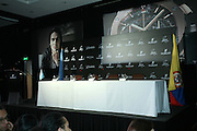 "13.JUNE.2013. BOGOTO<br /> <br /> THE NEW HUBLOT AMBASSADOR FOR COLOMBIA, RADAMEL FALCAO GARC&Iacute;A, TOGETHER WITH RICARDO GUADALUPE, CEO OF HUBLOT, HELD AN IMPORTANT EVENT IN BOGOTA PROVIDING FINANCIAL SUPPORT FOR UNODC TO CARRY OUT WORK IN THE CI&Eacute;NAGA GRANDE DE SANTA MARTA WETLANDS, THANKS TO THE SALE OF THE ""CLASSIC FUSION FALCAO"" WATCH. FALCAO AND HUBLOT TEAMPS UP FOR AN IMPORTANT PROJECT THEY ARE SUPPORTING TOGETHER IN COLOMBIA WITH THE UNITED NATIONS OFFICE ON DRUGS AND CRIME<br /> <br /> BYLINE: EDBIMAGEARCHIVE.CO.UK<br /> <br /> *THIS IMAGE IS STRICTLY FOR UK NEWSPAPERS AND MAGAZINES ONLY*<br /> *FOR WORLD WIDE SALES AND WEB USE PLEASE CONTACT EDBIMAGEARCHIVE - 0208 954 5968*"