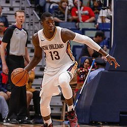 Oct 3, 2017; New Orleans, LA, USA; New Orleans Pelicans forward Cheick Diallo (13) against the Chicago Bulls during the second half of a NBA preseason game at the Smoothie King Center. The Bulls defeated the Pelicans 113-109. Mandatory Credit: Derick E. Hingle-USA TODAY Sports