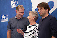 Andreas Lust, Ingrid Burkhard and director Ronny Trocker at the Die Einsiedler (The Eremites) film photocall at the 73rd Venice Film Festival, Sala Grande on Friday September 2nd 2016, Venice Lido, Italy.