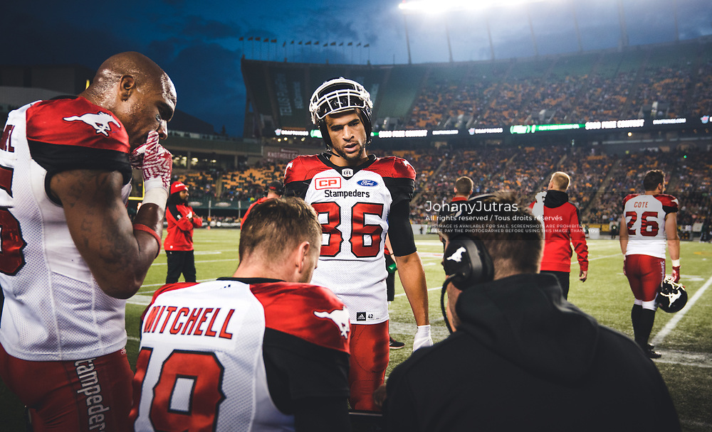 Marquay McDaniel (16), Bo Levi Mitchell (19) and Anthony Parker (86) of the Calgary Stampeders during the game against the Edmonton Eskimos at Commonwealth Stadium in Edmonton AB, Saturday, September 9, 2017. (Photo: Johany Jutras)