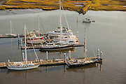 Aerial view of a luxury yacht Charleston, South Carolina.