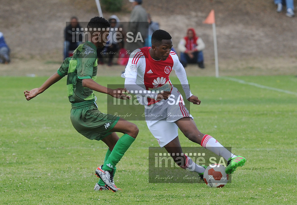 CAPE TOWN, SOUTH AFRICA - Saturday 26 March 2016,  Daylon Jacobs (Riverside FC) en Litha Dakuse (Ajax CT) during the fourth day of the Metropolitan U19 Premier Cup at Erica Park in Belhar. <br /> Photo by ImageSA