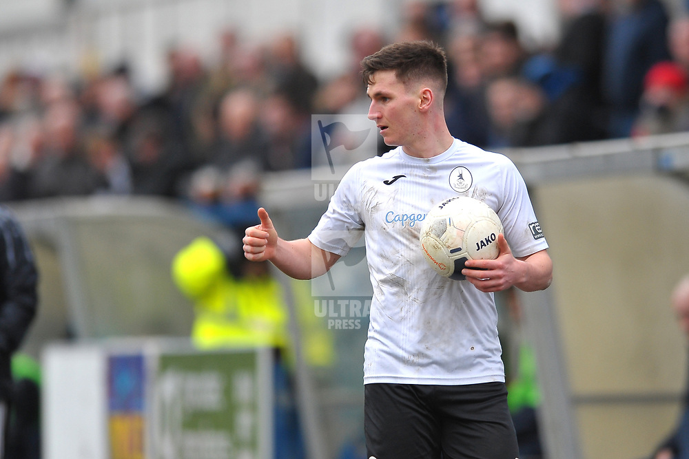 TELFORD COPYRIGHT MIKE SHERIDAN Ross White of Telford  during the Vanarama Conference North fixture between AFC Telford United and Kettering at The New Bucks Head on Saturday, March 14, 2020.<br /> <br /> Picture credit: Mike Sheridan/Ultrapress<br /> <br /> MS201920-050