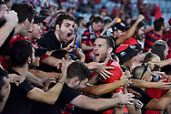 February 18, 2017:  Western Sydney Wanderers defender Robbie CORNTHWAITE (18) celebrates with his fans at Round 20 of the 2016 Hyundai A-League match, between Western Sydney Wanderers and Sydney FC, played at ANZ Stadium in Sydney.