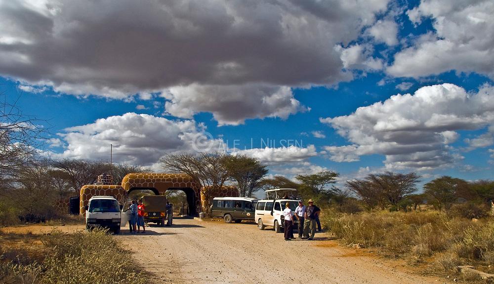 Exciting safari-tourists at the entrence to Samburu National Park, Kenya.
