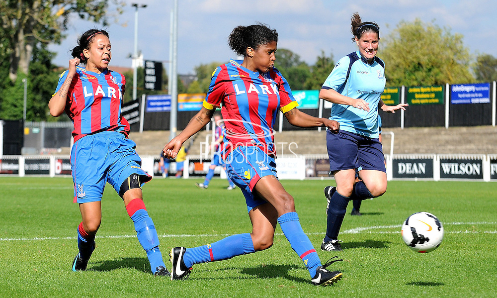 Gemma Bryan trying her luck during the FA Women's Premier League match between Crystal Palace LFC and Enfield Town Ladies at the Crystal Palace National Sports Centre, Croydon, United Kingdom on 20 September 2015. Photo by Michael Hulf.