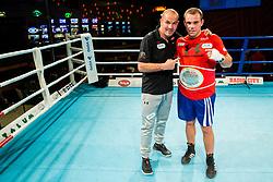 Aljaz Venko of Slovenia (BLUE) and Dejan Zavec celebrate with Champion's belt  during Dejan Zavec Boxing Gala event in Sentilj, on September 30, 2017 in Mond, Casino & Hotel, Sentilj, Slovenia. Photo by Vid Ponikvar / Sportida