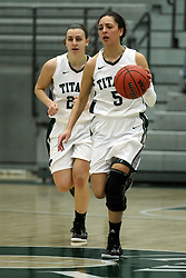 10 January 2015:  Kasey Reaber  & Alina Lehocky during an NCAA women's division 3 CCIW basketball game between the Carthage Reds and the Illinois Wesleyan Titans in Shirk Center, Bloomington IL