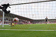 Richard Chaplow of Doncaster Rovers puts the ball in the back of the net for Doncaster to go 2-1 during the Sky Bet League 1 match between Doncaster Rovers and Barnsley at the Keepmoat Stadium, Doncaster, England on 3 October 2015. Photo by Ian Lyall.