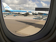 view from airplane at Schiphol airport