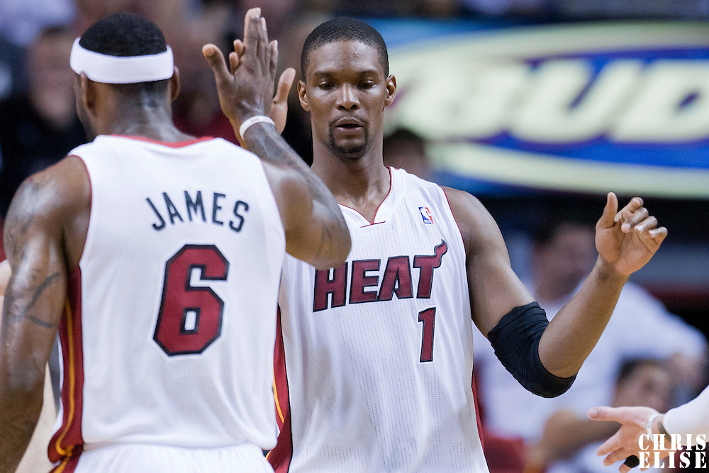 08 March 2011: Miami Heat power forward Chris Bosh (1) celebrates with Miami Heat small forward LeBron James (6) during the Portland Trail Blazers 105-96 victory over the Miami Heat at the AmericanAirlines Arena, Miami, Florida, USA.