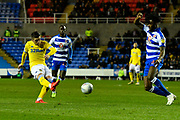 Goal - Pablo Hernandez (19) of Leeds United scores a goal to give a 0-3 lead to the away team during the EFL Sky Bet Championship match between Reading and Leeds United at the Madejski Stadium, Reading, England on 12 March 2019.