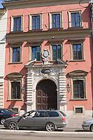 building facade on a street in Krakow Poland