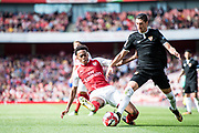 Arsenal Joe Willock (69), Sevilla defender Sergio Escudero (18) during the Emirates Cup 2017 match between Arsenal and Sevilla at the Emirates Stadium, London, England on 30 July 2017. Photo by Sebastian Frej.