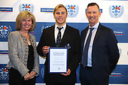 Oliver Sheperd with sponsors Rose and Geoff Creighton during the Auckland Rugby awards night held at Eden Park on the 25th of October 2017. <br /> Credit; Peter Meecham/ www.photosport.nz