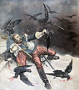 The Crows': Wounded Curassier lying in the snow, still clutching the Tricoleur, fighting off carion crows.  llustration of Franco-Prussian War after Beauquesne. 'Le Petit Journal', Paris, 6 December 1890.