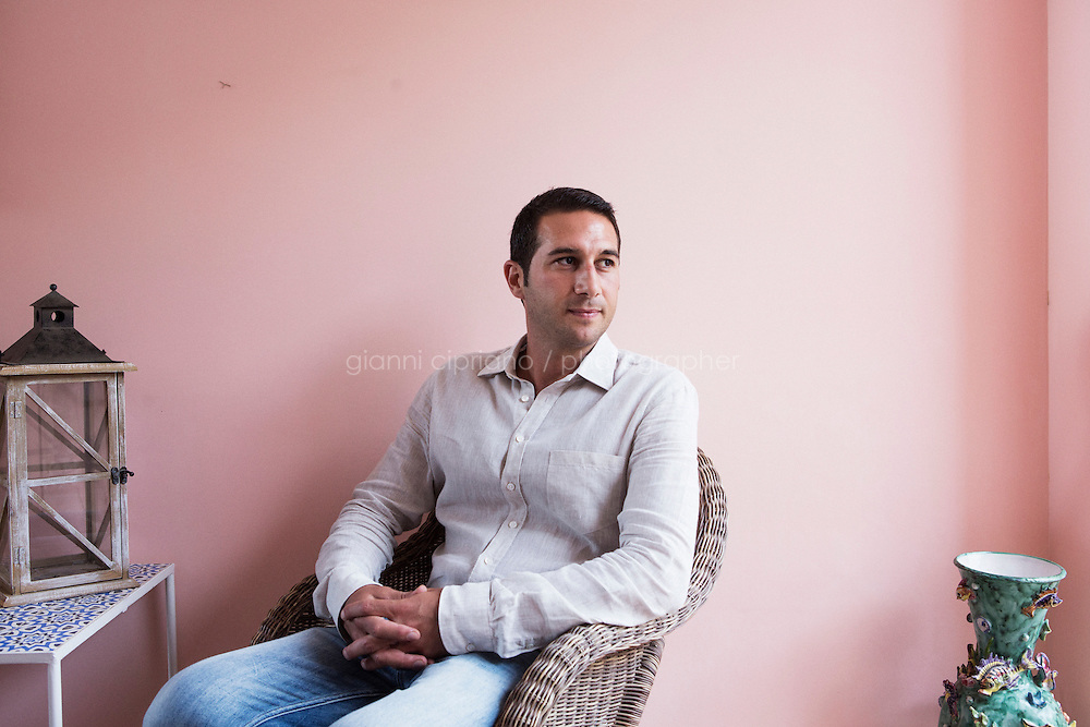 ANACAPRI, ITALY - 22 JULY 2014: Pierpaolo Pollio, owner of Casa Pollio (the hotel where Mayor of New York Bill De Blasio are staying during their vacation), poses for a portrait at the entrance of the hotel  in Anacapri, a small comune on the island of Capri, Italy, on July 22nd 2014.<br /> <br /> New York City Mayor Bill de Blasio arrived in Italy with his family Sunday morning for an 8-day summer vacation that includes meetings with government officials and sightseeing in his ancestral homeland.