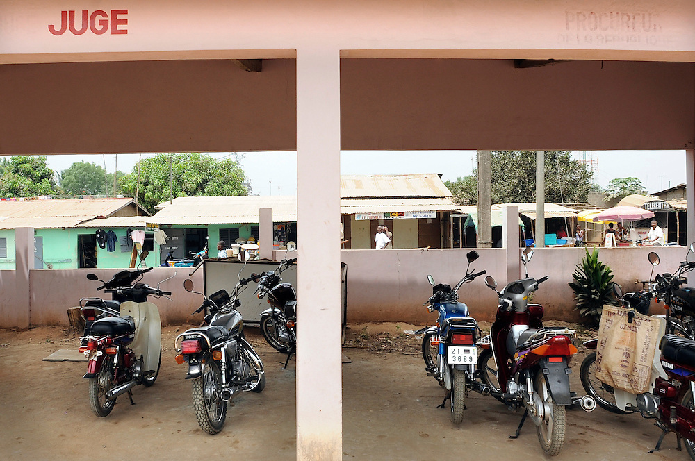 Motorcycle inside of the Supreme Court Chamber garage of the urban district of Lokossa, Benin February 29, 2008.