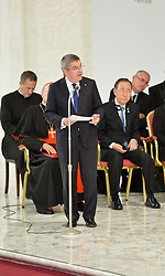 October 5, 2016 - Vatican City, Vatican - Thomas Bach during Conference Sport at service of humanity, at the Vatican on october 05, 2016  The goal of the conference is to create a forum where leaders from different religious faiths, sports, business, academia and media can discuss how faith and sport can work together to better serve humanity. (Credit Image: © Silvia Lore/NurPhoto via ZUMA Press)
