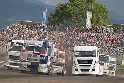 06.07.2013, Red Bull Ring, Spielberg, AUT, Truck Race Trophy, Renntag 1, im Bild Jean-Pierre Blaise, (BEL, 2CVRT, #14), Frank Vojtisek, (CZE, Frankie Truck Racing Team, #21), Benedek Major, (Oxxo Energy Truck Race Team, #12) // during the Truck Race Trophy 2013 at the Red Bull Ring in Spielberg, Austria, 2013/07/06, EXPA Pictures © 2013, PhotoCredit: EXPA/ M.Kuhnke