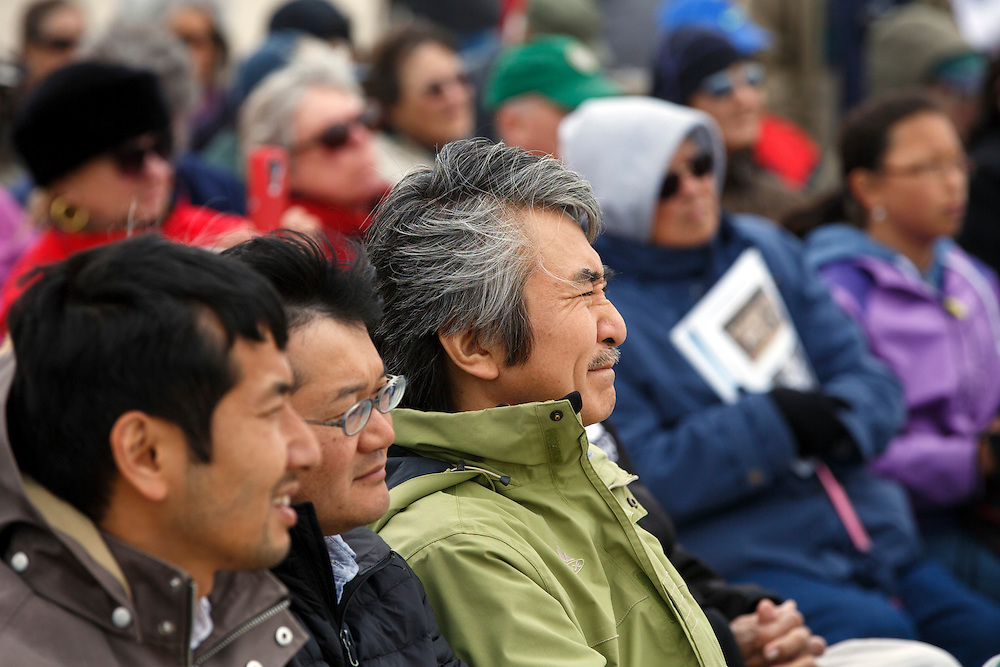 Jun Yamada, Consul General of Japan, San Francisco, listens at the Manzanar National Historic Site during the 47th Annual Manzanar Pilgrimage on Saturday, April 30, 2016 in the Owens Valley of Inyo County, Calif. Now a National Historic Site, the Manzanar War Relocation Center was one of ten camps where Japanese American citizens and resident Japanese aliens were interned during World War II. Photo by Patrick T. Fallon / Special to the National Parks Conservation Association