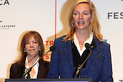 l to r: Jane Rosenthal and Urma Thurman at The 2009 Tribeca Film Festival Opening Press Conference Kick-Off held at The Borough of Manhattan Community College in New york City on April 21, 2009