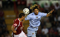 Photo: Rich Eaton.<br /> <br /> Bristol City v Manchester City. Carling Cup. 29/08/2007. Man City's Rolando Bianchi (r) heads the ball.