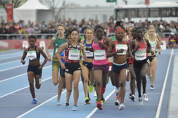 October 11, 2018 - Buenos Aires, Buenos Aires, Argentina - BERNARDETTE BINGONDA of the Democratic Republic of Congo leads the field at the beginning of the Women's 3000m Stage 1 on Day 5 of the Buenos Aires 2018 Youth Olympic Games at the Olympic Park. (Credit Image: © Patricio Murphy/ZUMA Wire)