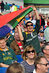 A South Africa fan in the crowd enjoys the pre-match atmosphere - Mandatory byline: Patrick Khachfe/JMP - 07966 386802 - 19/09/2015 - RUGBY UNION - Brighton Community Stadium - Brighton, England - South Africa v Japan - Rugby World Cup 2015 Pool B.