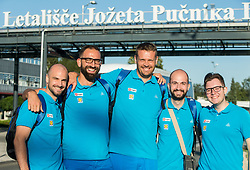 Jurij Koderman, Peter Rankovic Miha Zupan, Matic Makuc and Lukas Mord of Slovenian deaf team before departure to 23rd Summer Deaflympics in Samsun, Turkey, on July 14, 2017 at Airport Joze Pucnik, Brnik, Slovenia. Photo by Vid Ponikvar / Sportida