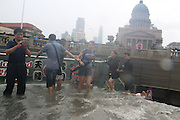 BEIJING, CHINA - JULY 20: <br /> <br /> Citizens walk up stairs while water pours down to subway station on July 20, 2016 in Tianjin, China. Tianjin Meteorological Observatory has issued an orange alert to heavy rainfall at 08:07 am early Wednesday and the rainstorm is predicted to continue in following six hours.<br /> ©Exclusivepix Media