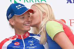 Second placed in general classification Tomaz Nose of Slovenia (Adria Mobil) at the flower ceremony in Novo mesto after 4th stage of Tour de Slovenie 2009 from Sentjernej to Novo mesto, 153 km, on June 21 2009, Slovenia. (Photo by Vid Ponikvar / Sportida)
