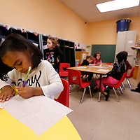 "Thomas Wells | BUY AT PHOTOS.DJOURNAL.COM<br /> Harleigh Donald finishes her upper and lower case ABC""s as her first activity at the Kids Landin Day Care in Tupelo on Wednesday."