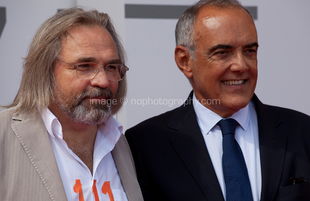 Director Victor Kossakovsky and Festival director Alberto Barbera at the premiere gala screening of the film Aquarela at the 75th Venice Film Festival, Sala Grande on Saturday 1st September 2018, Venice Lido, Italy.