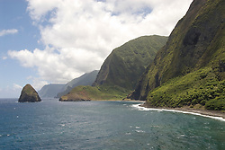 Hawaii: Molokai, scenic cliffs and seafins at Kalawao, with ocean and Waikoloa River Valley..Photo himolo104-72260..Photo copyright Lee Foster, www.fostertravel.com, lee@fostertravel.com, 510-549-2202