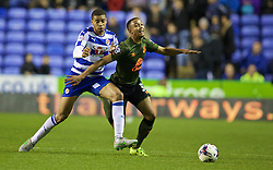 READING, ENGLAND - Tuesday, September 22, 2015: Everton's Brendan Galloway in action against Reading's captain Michael Hector during the Football League Cup 3rd Round match at the Madejski Stadium. (Pic by David Rawcliffe/Propaganda)
