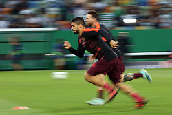 September 27, 2017 - Lisbon, Portugal - Barcelona's Uruguayan forward Luis Suarez and Barcelona's Argentine forward Lionel Messi warmup before the UEFA Champions League football match Sporting vs Barcelona at the Alvalade stadium in Lisbon, Portugal on September 27, 2017. Photo: Pedro Fiuza  (Credit Image: © Pedro Fiuza/NurPhoto via ZUMA Press)