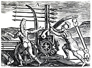 Roman soldiers using a war engine firing multiple arrows. Reconstruction from Justus Lipsius 'Poliorceticon sive de Machinis Tormentis Telis', Antwerp 1605. Copperplate engraving.