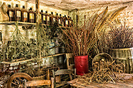 Corner of brick kitchen at Pharsalia with dried flowers and old bottles and more
