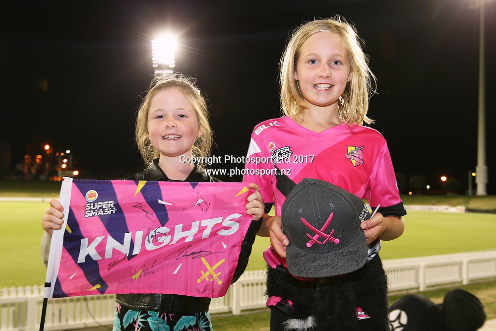 Knights fans during the Burger King Super Smash Twenty20 cricket match Knights v Stags played at Bay Oval, Mount Maunganui, New Zealand on Wednesday 27 December 2017.<br /> <br /> Copyright photo: © Bruce Lim / www.photosport.nz
