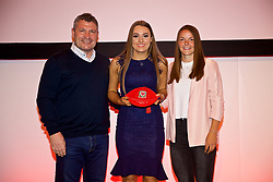 NEWPORT, WALES - Saturday, May 19, 2018: Jessica Smith is presented with her Under-16's cap by Osian Roberts (left) and Lauren Dykes (right) during the Football Association of Wales Under-16's Caps Presentation at the Celtic Manor Resort. (Pic by David Rawcliffe/Propaganda)