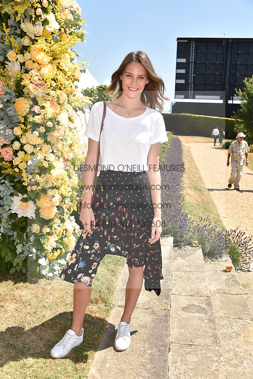 Charlotte Wiggins at the 'Cartier Style et Luxe' enclosure during the Goodwood Festival of Speed, Goodwood House, West Sussex, England. 15 July 2018.
